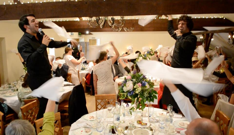 Singing waiters wedding